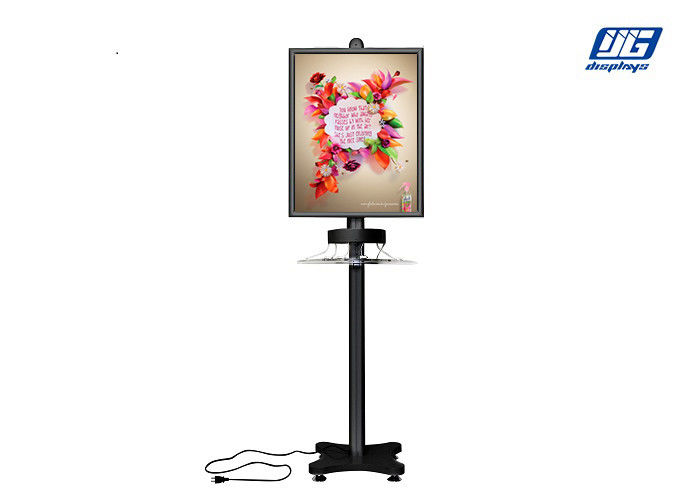 Black Aluminum Snap Poster Holder Frame / Smart Phone Charging Stand